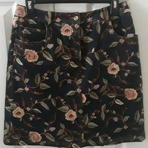 Doncaster dark blue denim embroidered skirt